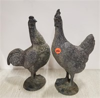 White metal hen & rooster