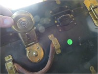 Vintage Green Metal Trunk Case with Key (missing 1