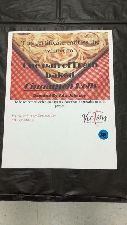 Victory Christian Academy online auction 3/5/21