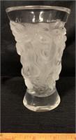PRETTY LALIQUE FROSTED GLASS CHERUB VASE