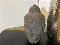 Terracotta Head and Hammered Decorative Vase