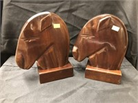 (2) Carved Mahogany Horse Form Bookends