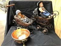 (2) German Dolls and Copper Strainer