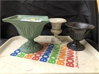 (3) Antique Cast Iron Planters