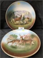 (2) Antique Stag Form Porcelain Chargers