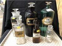 (6) Vintage Apothecary Bottles