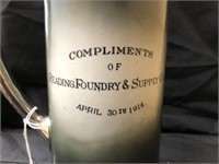 Reading Foundry Advertising Ceramic Pitcher