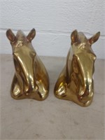 (2) Brass Horse Formed Bookends