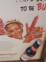 Framed Budweiser Advertisement