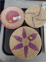 (3) Contemporary Native American Woven Baskets