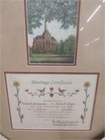 T.F. Hermansader Framed Marriage License