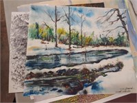 (7) T.F. Hermansader Watercolors