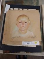 Signed Hermansader Pastel and Ink Drawings