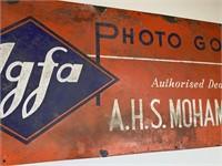 Antique Porcelain Agfa Photo Goods Sign