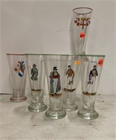 6 handpainted pilsner footed glasses