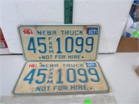 1996 Nebraska Truck Lixense Plates 45-1099