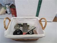 Misc in Basket (stapler, Fountain pen , ink well &