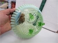 "Vtg Green Opalescent Glass Bowl 8&3/4"" x 8&1/2"""