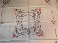 "Vintage Card Table Tablecloth 34"" x 34"""