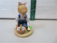 "Denim Days Girl with Easter Eggs 4&1/4"""