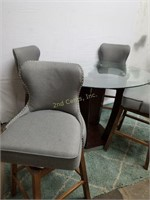 Glass Top Wooden Table with Bar Height Chairs