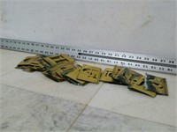 Set of Brass Alphabet Letter Stencils
