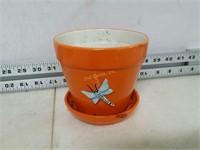 "4.5"" Tall Flower Pot, Orange"