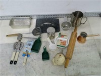 Lot of Assorted Kitchen Tools - Rolling Pin, Ect.