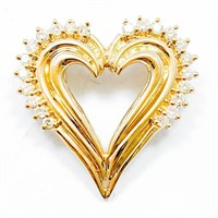 1/2 Carat Diamond & 14k Gold Heart Pendant