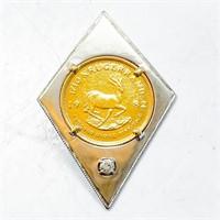 1/10 Krugerrand & Diamond White Gold Pendant