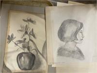 Signed Hermansader Pencil Sketches