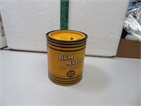 """Vtg Rum and Maple Pipe Mixture Tobacco Tin 5"""" x"""