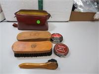 Vintage Shoeshine Kit with 3 Brushes