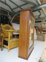 "Antique Ornate Oak Cabinet with Key 26&3/4"" x"