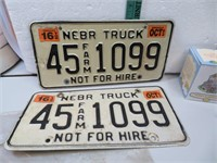 1993 Nebraska Truck License Plate 45Farm1099