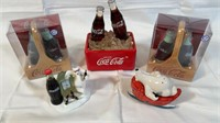 3 Coca-Cola salt and pepper shakers, and