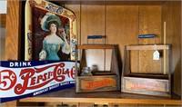 2 -  wood Pepsi crates, Pepsi-Cola sign,