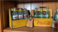 2 wood Coca-Cola bottle carrier, 1 metal carrier