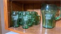 Coca-Cola Whataburger cowboy glasses & pitcher