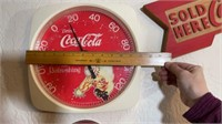Coca-Cola thermometer, clock and wood sign