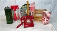 Rotary phone, soda shop décor