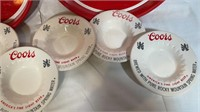 2 Coors serving trays and 6 ashtrays