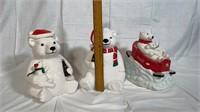 3 Coca-Cola Christmas Bears cookie jars
