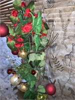 Iron Hat Tree w/ holiday ornaments
