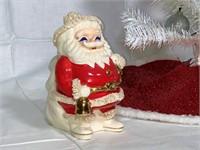 Vintage Santa Claus coin bank, mini tree, boot