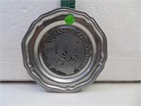 "Vintage San Luis Obispo De Tolosa Pewter Plate 7"""