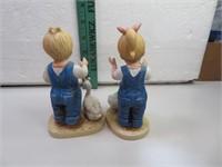 "2 Denim Days Geese Boy & Girl Figurines 5&1/4"""