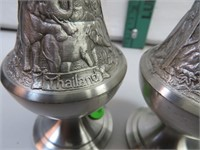 Vintage Pewter Salt & Pepper with Elephant Pattern