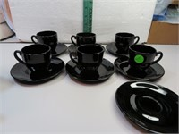 Vintage Black Depression Glass 6 Demitasse Cups &