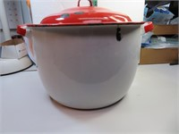 Vintage Enamelware Red & White Pot with Lid